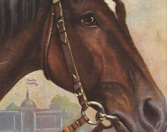 German Thoroughbred - Antique 1900s Tuck's Oilette Artist-signed Race Horse Postcard