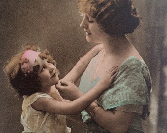 Pretty Mother and child postcard. Wishing You a Happy Birthday. Sepia and spot colour. Collectable antique postcard.
