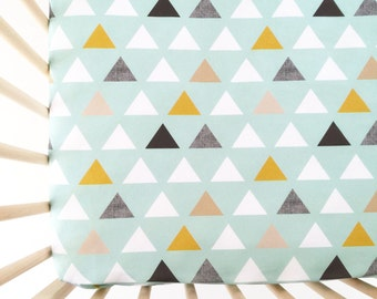 crib sheet mod mint triangles fitted crib sheet baby bedding crib bedding - Crib Sheets