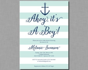 Ahoy It's a Boy Invitation nautical baby shower mint navy BC51 Digital or Printed