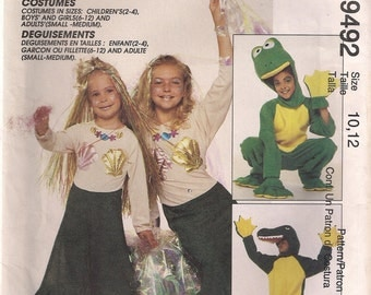 McCall's Costume Sewing Pattern 9492 - Alligator, Frog, and Mermaid Costumes (32-34, 36-38)