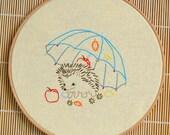 DIY gift, Hedgehog hand embroidery patterns, Under Umbrella Embroidery Pattern, diy hoop art
