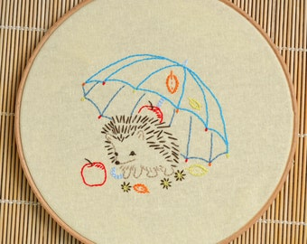 DIY gift, Hedgehog hand embroidery patterns, woodland nursery, forest animals by NaiveNeedle