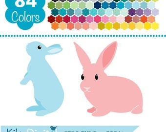 Bunnies Clip Art, Rainbow Rabbits Clipart, Colorful Baby Bunnies Vector Graphics, Huge Clipart Pack - INSTANT Download