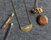 SALE  ACCIUS Half circle Quartz Necklace