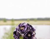 Custom Bridal Bouquet, Shabby Chic Bridal Bouquet, Flower Bouquet, Silk and Lace Bridal Bouquet