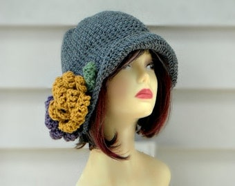 Winter Hat For Women, Crochet Flapper Hat, Hat with Large Flowers, Winter Accesories, Womens Accessories, Crochet Beanie