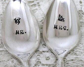 HALLOWEEN Mr. and Mrs. Silverware Spoon Set Hand Stamped w/spider & spider web Engagement Anniversary Wedding - GARLAND 1965