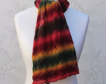 Ladies' Chevron Lace Scarf, Striped Lace Scarf, Fine Hand Knit Lace Stole, Zig zag Pattern Wide Scarf, Autumn Lace Scarf, Christmas Gift