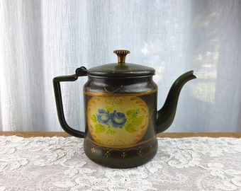 Vintage Toleware Enamel Teapot // Free Shipping in the USA