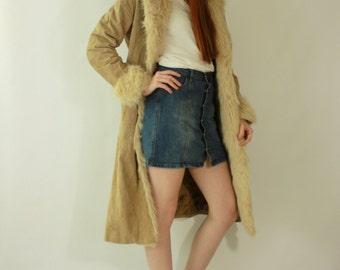 Vintage 1980's SHAGGY Shearling LEATHER bohemian Princess Coat /  80s Boho Hippie Penny Lane LONG Festival Jacket Coat