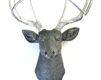 CHARCOAL-SILVER Faux Taxidermy Deer Head Wall Mount Wall Hanging Decor:  Deerman the Deer Head in charcoal gray/grey with silver antlers
