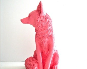SALMON Large Fox Animal Statue in SALMON // cabin nursery kids room office gift for her him table top  woodland nursery forest animal decor