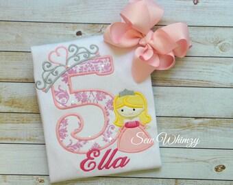 Sleeping Beauty shirt- Aurora birthday shirt- Princess Birthday shirt- Birthday Girl Applique Shirt- Girl Princess Number Shirt- Monogram