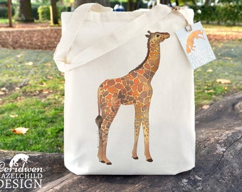 Giraffe Tote Bag, Ethically Produced Reusable Shopper Bag, Cotton Tote, Shopping Bag, Eco Tote Bag