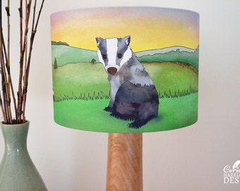 Badger Fabric Lampshade, Illustrated Lamp Shade, Handmade Lighting