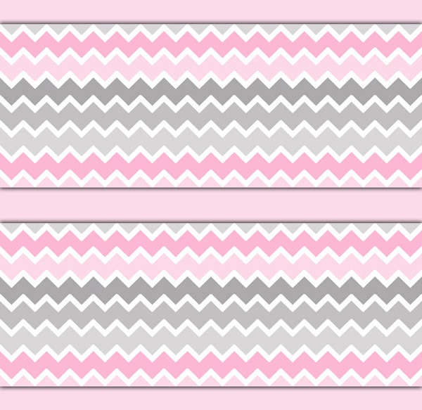 Pink grey gray ombre chevron wallpaper border decal girl for Pink and grey bedroom wallpaper