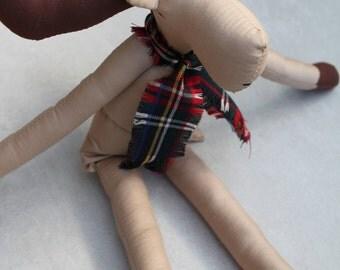 NEW! Moose Ragdoll: Vintage,Recycled Materials,Cloth Doll,Children,Ragdolls,Cloth Handmade Dolls,Elk, Christmas Doll