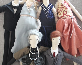 Downton Abbey Ragdolls, Lord Grantham, Cora, Mary, Cloth Doll, Personalized: Handmade from Vintage and Recycled Materials/ Sewing Cloth