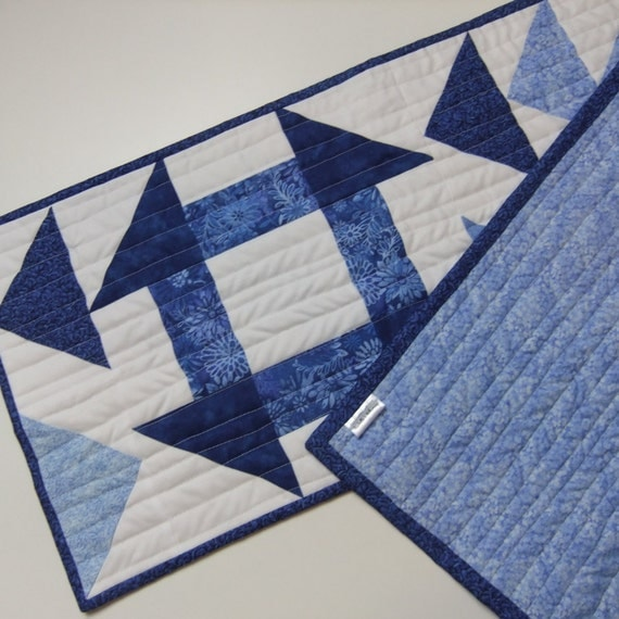 quilted table runner blue and white flying