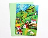 Postcard, Greeting Card, Watercolor Postcard, Village Postcard