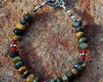 Pietersite, Carnelian and Pewter Bracelet. OOAK, Gifts for Women, Black, Brown,Deep Green, Tan, Red