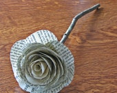 Single Vintage Book Page Rose Stem
