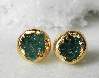 Druzy stud earrings - Druzy earrings - Stud earrings - Green druzy -Gold-dipped - drusy agate - 10mm