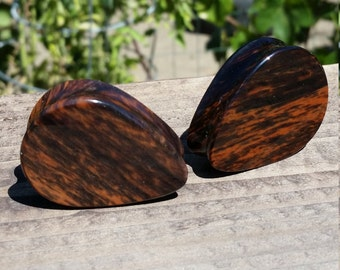 "1 5/16"" Inch Gold Sheen Mahogany Obsidian Stone Teardrop Plugs"
