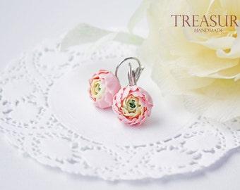 Pink flower earrings, soft pink flower earrings, flower earrings, pink earrings, peony flower earrings, pink peony earrings