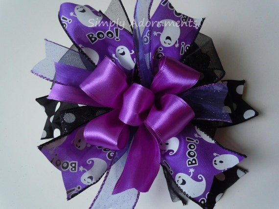 Purple Black Halloween Bow BOO Halloween Lantern Bow Halloween Ghost Bow Door Hanger Bow Purple Halloween Gift Bow