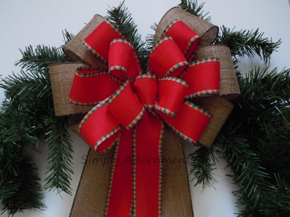 Rustic Burlap Christmas Bow, Burlap Country Wreath Bow, Red Brown Burlap Christmas Wreath Bow, Winter Burlap Gift Bow