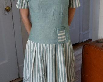 1930s Art Deco Striped Dress