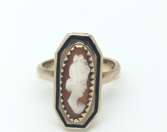 Elongated Carved Shell, Black Enamel and 10kt Yellow Gold Vintage Cameo Ring