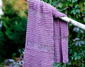 Long hand knit pink cotton scarf