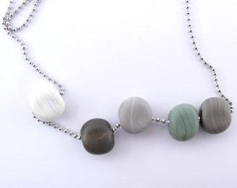Organic beads necklace - ball chain 70 cm  - handmade lampwork pebbles - glass beads