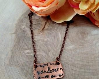 Wanderer Necklace, gypsy necklace, free spirit necklace, traveler necklace, copper bar necklace, hand stamped necklace, gypsy soul necklace