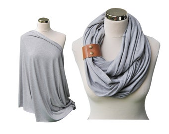 Heather Gray Nursing Scarf with leather cuff, Nursing Cover, Breastfeeding Cover, Nursing Infinity Scarf, baby shower gift