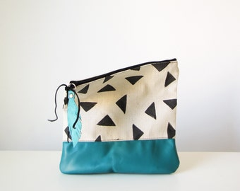 Geometric Clutch Purse, Teal Leather, Fold over bag, Foldover clutch, Canvas and Leather bag, Clutch, Triangle Print