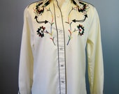 Embroidered Western Shirt / Vtg 80s / H Bar C Embroidered Western Shirt / Snap Front /