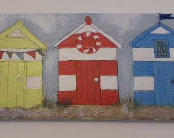 Painting, acrylic aon canvas, beach hut,  bunting,red blue yellow gift idea