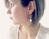 White Angel Earrings. Bright White Teardrop and Antiqued Silver Angel Wing Earrings. Festive Christmas Holiday Jewelry Gifts for Women.