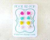 Rose Post Earrings. Tiny Flower Stud Earrings Set in Hot Pink, Mint Green, Sunflower Yellow & Strawberry Pink. Resin Stud Earrings