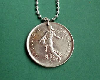 French Nickle Coin Necklace 5 FR, 1970, 1971, 1974, French Franc Republique Francaise, Liberty, Sowing Seeds,