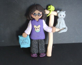 Crazy Cat Lady Christmas Ornament Kitty Climbing Post Polymer Clay Milestone Cake Topper Food Bag Yarn Toys Pet Sitter Glasses Groomer