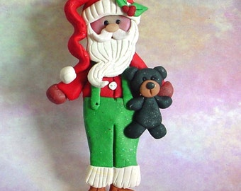 Santa Claus Teddy Bear Christmas Ornament Toy Polymer Clay Milestone Overalls Farmer St Nick Red Hat Shirt Holly Berry 1st Happy Holiday