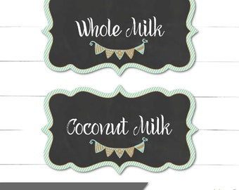 Candy Buffet Labels - Milk and Cookies Collection - Boy Birthday - Food Labels - Blue, Rustic, Vintage - Instant Download