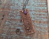 Lace bronze necklace / feather necklace