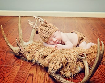 Crochet Baby Deer Antler Hat Set - Deer Photo Prop Set - Antler Newborn Set - Infant Whitetail Deer Set