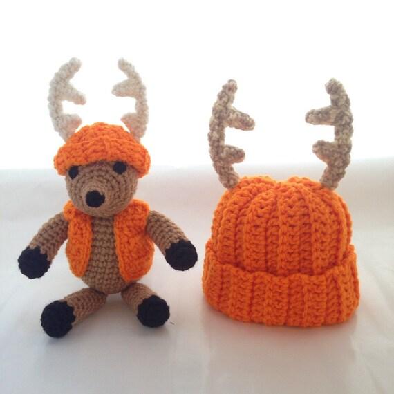 Amigurumi Mini Hat : Baby Deer Hat set with Amigurumi Toy Stuffed Toy Animal